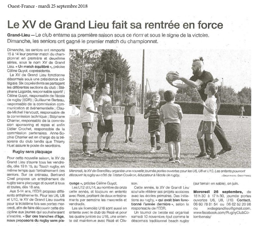Ouest France 25-09-2018